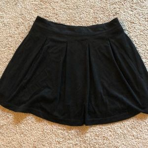 Black, Soft, lined, knit pleated skirt